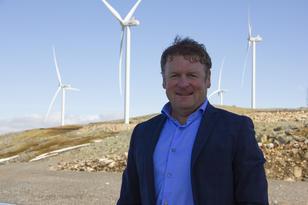 Prosjektdirektør Jon Ingebrigtsen, fra åpninga av Ånstadblåheia vindpark i Vesterålen.