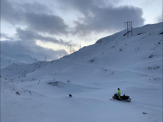 Vinterarbeid i Sørfjordfjellet vindkraftverk.