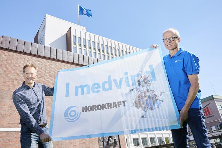 Lars Norman Andersen (Narvik kommune) og Sverre Mogstad (Nordkraft) oppfordrer idretts- og kulturlivet i Narvik til å søke på Medvindmidlene.