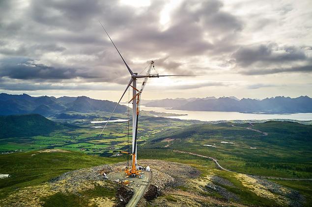 Montasje Ånstadblåheia vindpark. Foto: Torgeir Sørensen