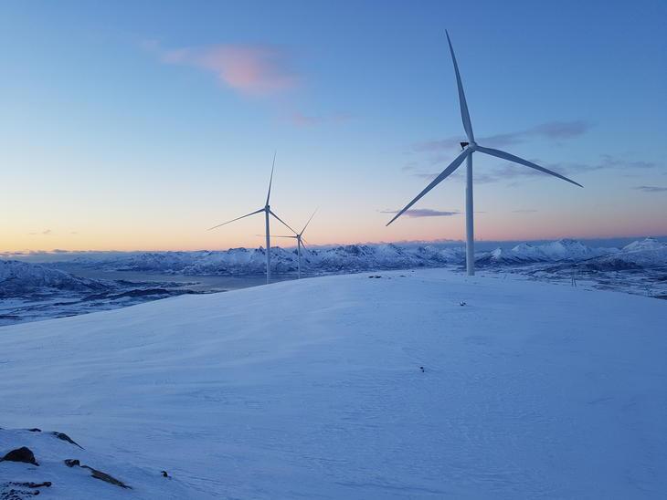 Ånstadblåheia vindpark vinter. Foto: Frank Solli, Nordkraft
